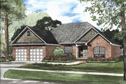 One-Story House Plan 62319 with 3 Beds, 2 Baths, 2 Car Garage Elevation