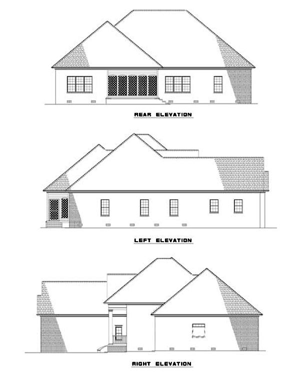 House Plan 62320 with 3 Beds, 2 Baths, 2 Car Garage Rear Elevation