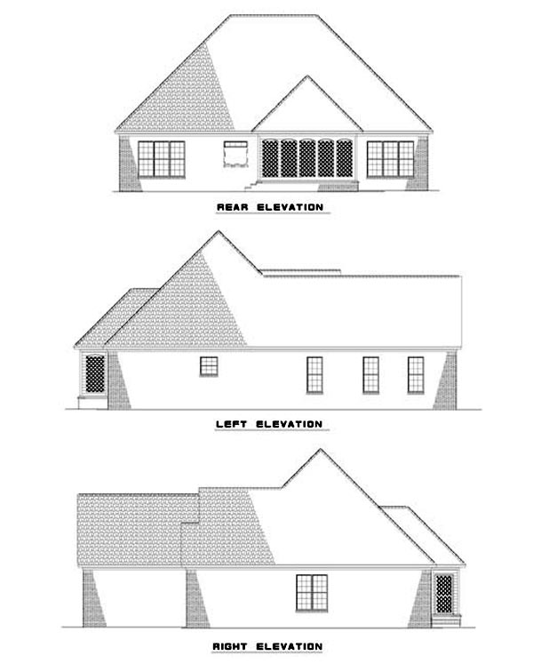 European Traditional House Plan 62321 Rear Elevation