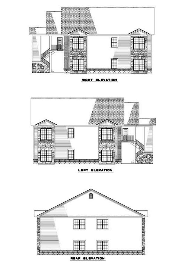 Southern Traditional Multi-Family Plan 62322 Rear Elevation