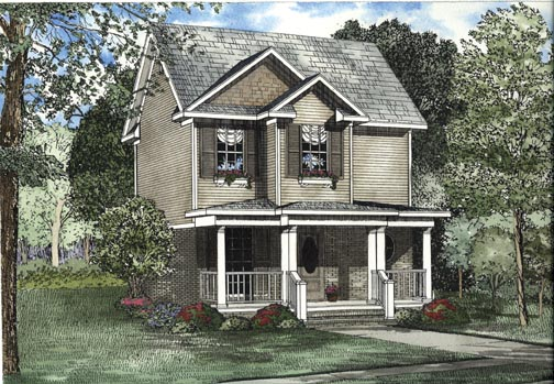 Narrow Lot House Plan 62323 with 2 Beds , 3 Baths Elevation