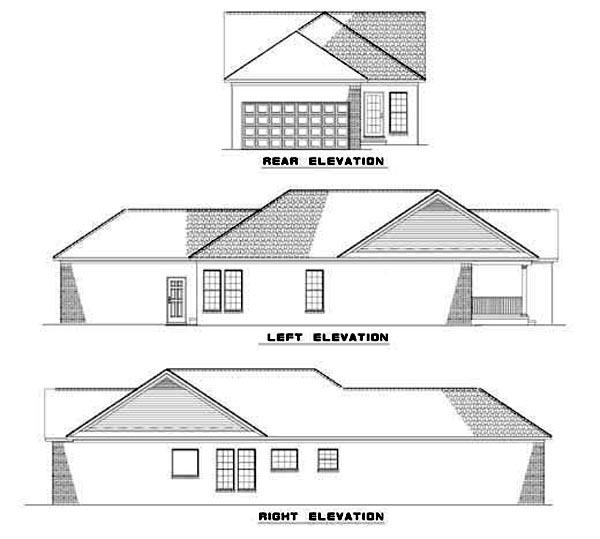 Rear Elevation of Plan 62326