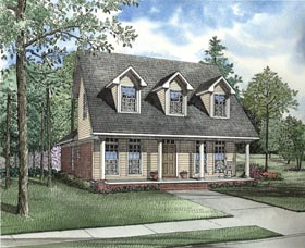House Plan 62328 | Cape Cod Colonial Country Style Plan with 1543 Sq Ft, 3 Bedrooms, 2 Bathrooms, 2 Car Garage Elevation