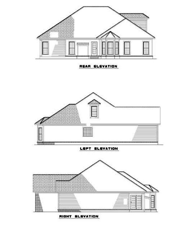 Rear Elevation of Plan 62329
