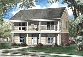 Multi-Family Plan 62333 | Style Plan with 2010 Sq Ft, 4 Bedrooms, 4 Bathrooms Elevation