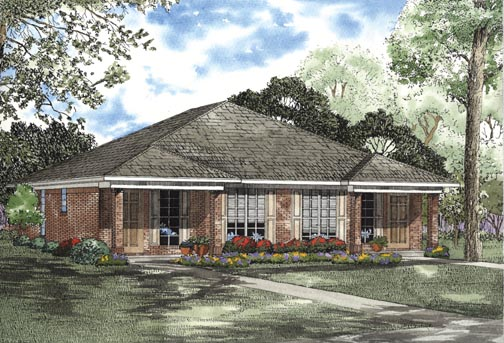 One-Story Multi-Family Plan 62334 with 4 Beds, 2 Baths Elevation