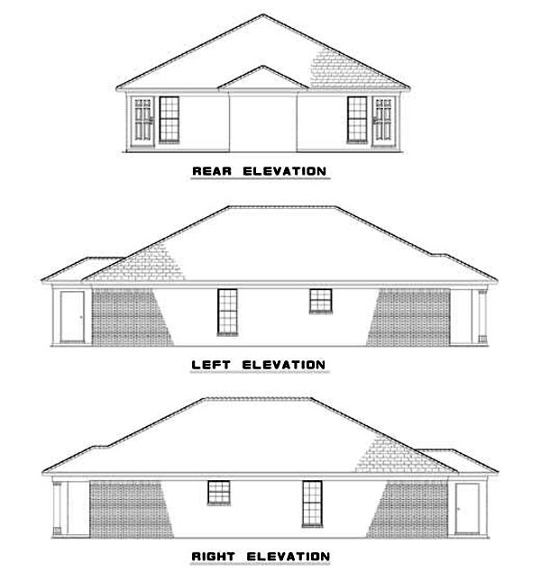 One-Story Multi-Family Plan 62334 with 4 Beds, 2 Baths Rear Elevation