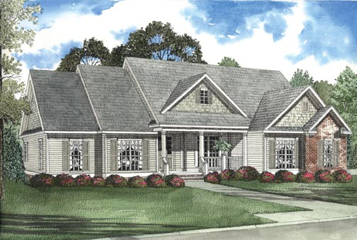 One-Story House Plan 62341 with 3 Beds, 2 Baths, 2 Car Garage Elevation