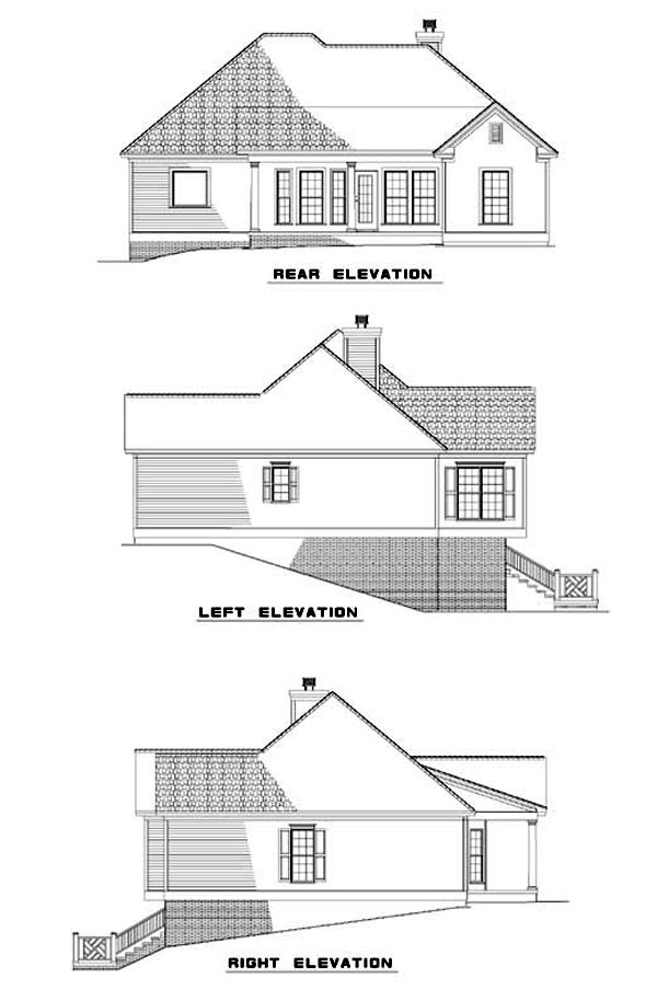 Rear Elevation of Plan 62342
