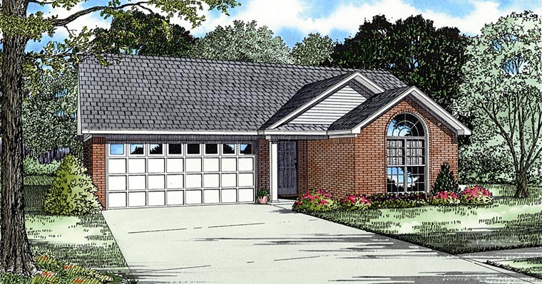 European, Ranch House Plan 62343 with 3 Beds, 2 Baths, 2 Car Garage Elevation