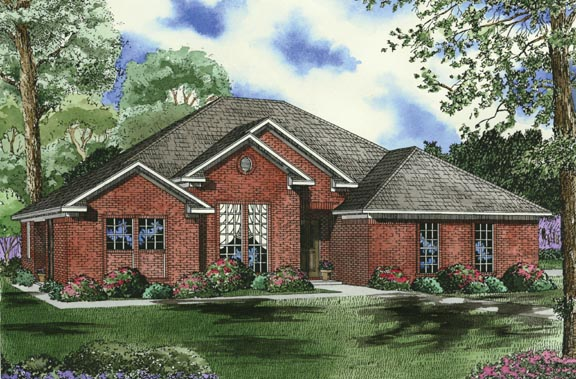 One-Story House Plan 62345 with 4 Beds, 2 Baths, 2 Car Garage Elevation