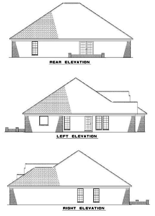 One-Story House Plan 62345 with 4 Beds, 2 Baths, 2 Car Garage Rear Elevation