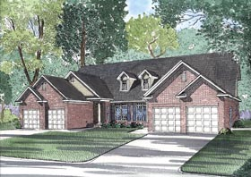 Multi-Family Plan 62348 with 6 Beds, 6 Baths, 4 Car Garage Elevation