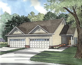 Traditional Multi-Family Plan 62350 with 4 Beds, 4 Baths, 4 Car Garage Elevation