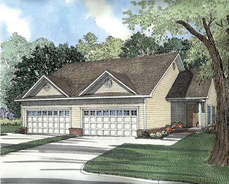 One-Story, Traditional Multi-Family Plan 62350 with 4 Beds, 4 Baths, 4 Car Garage Elevation
