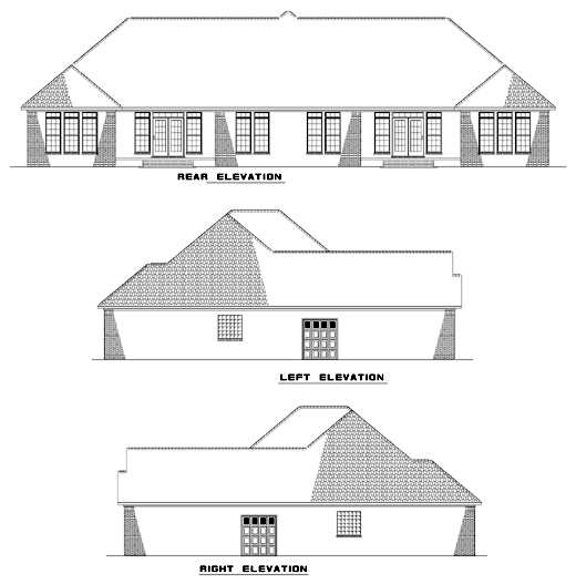 Multi-Family Plan 62351 Rear Elevation