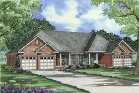 Multi-Family Plan 62352 with 6 Beds, 4 Baths, 4 Car Garage Elevation