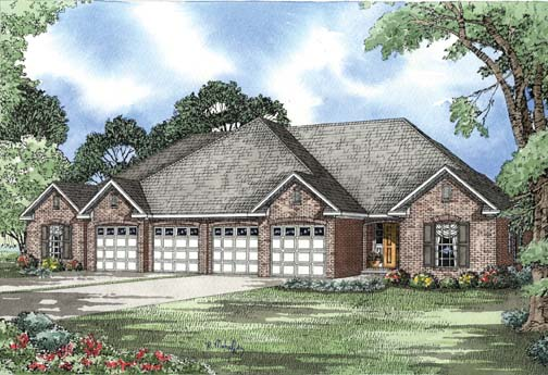 One-Story Multi-Family Plan 62353 with 6 Beds , 4 Baths , 4 Car Garage Elevation