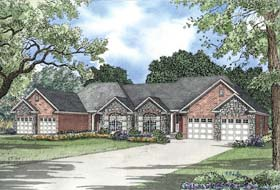 Multi-Family Plan 62354 with 4 Beds, 4 Baths, 4 Car Garage Elevation