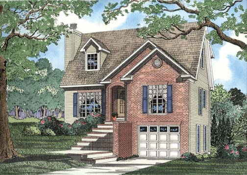 Narrow Lot House Plan 62355 with 3 Beds, 3 Baths, 1 Car Garage Elevation