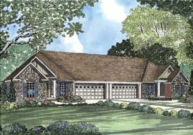 Multi-Family Plan 62356 with 6 Beds, 4 Baths, 4 Car Garage Elevation