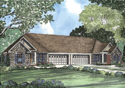 One-Story Multi-Family Plan 62356 with 6 Beds, 4 Baths, 4 Car Garage Elevation