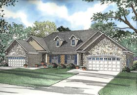 Multi-Family Plan 62358 with 6 Beds, 4 Baths, 4 Car Garage Elevation