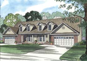 Traditional Multi-Family Plan 62360 Elevation