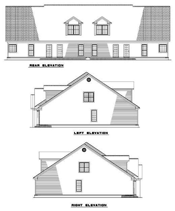 Multi-Family Plan 62361 Rear Elevation