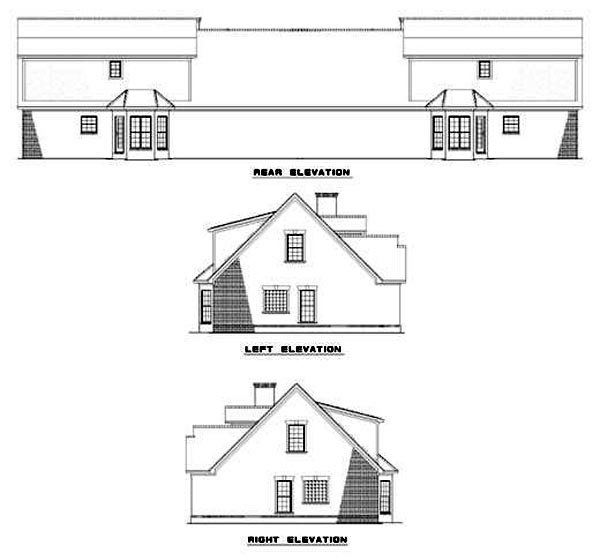 Multi-Family Plan 62363 Rear Elevation