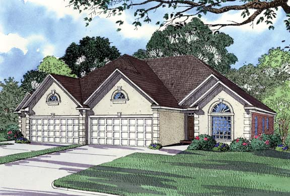 Narrow Lot, One-Story Multi-Family Plan 62364 with 6 Beds, 4 Baths, 4 Car Garage Elevation