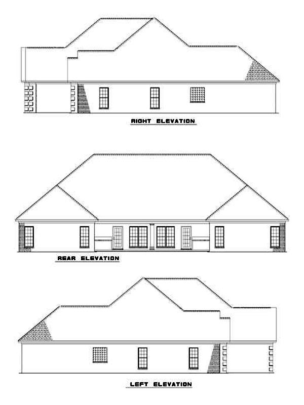 Narrow Lot, One-Story Multi-Family Plan 62364 with 6 Beds, 4 Baths, 4 Car Garage Rear Elevation