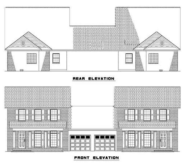 Traditional Multi-Family Plan 62368 Rear Elevation