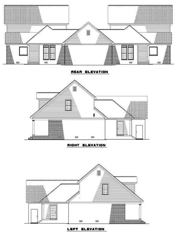 Traditional Multi-Family Plan 62369 Rear Elevation