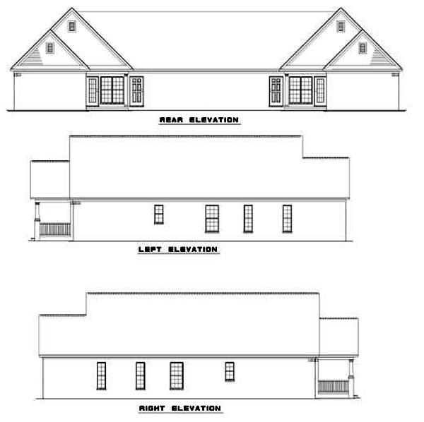 Multi-Family Plan 62370 Rear Elevation