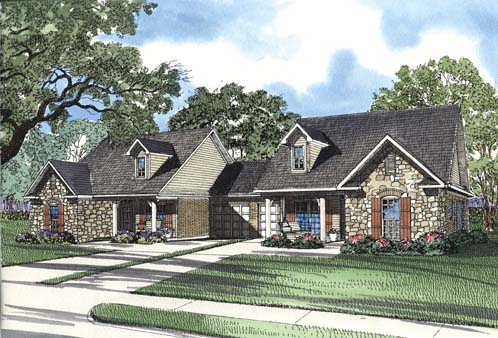 One-Story Multi-Family Plan 62371 with 6 Beds, 4 Baths, 2 Car Garage Elevation