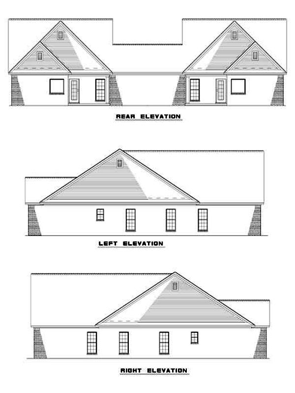 One-Story Multi-Family Plan 62371 with 6 Beds, 4 Baths, 2 Car Garage Rear Elevation