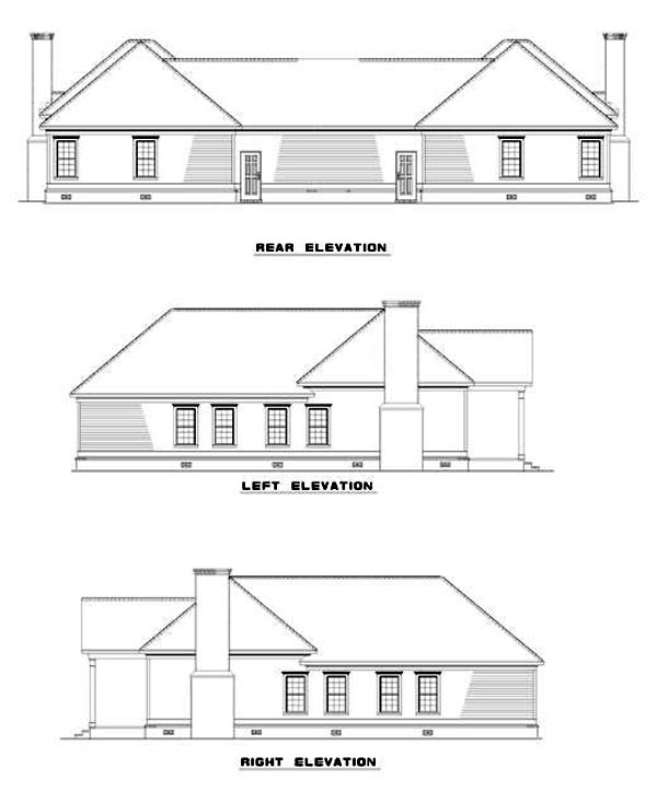One-Story Multi-Family Plan 62372, 2 Car Garage Rear Elevation