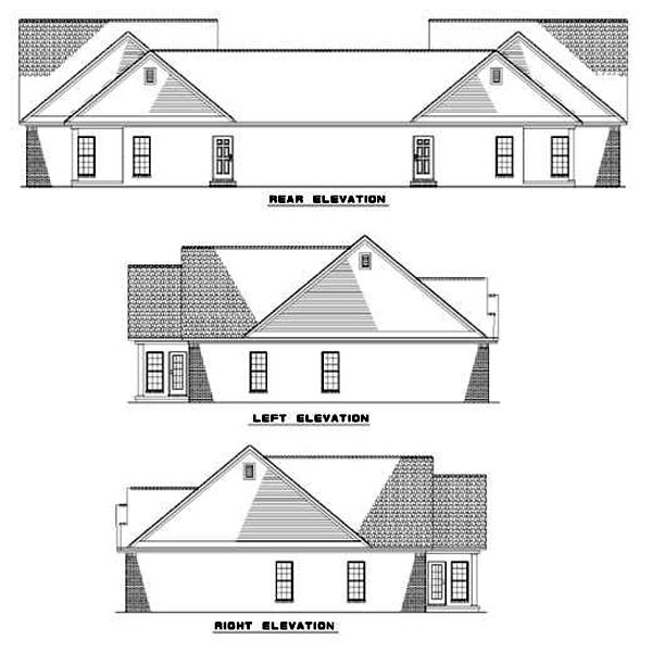 Multi-Family Plan 62373 Rear Elevation