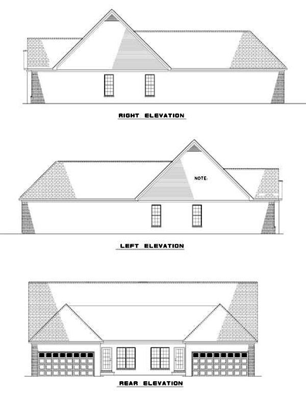 Multi-Family Plan 62374 Rear Elevation