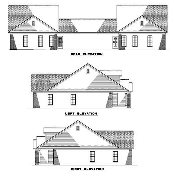 Multi-Family Plan 62375 Rear Elevation