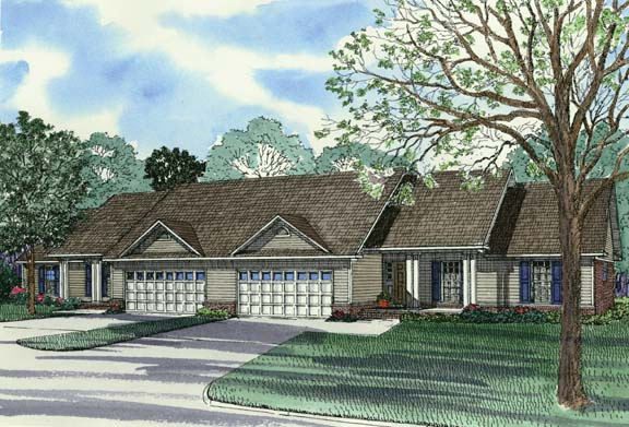 One-Story, Ranch Multi-Family Plan 62376 with 6 Beds, 4 Baths, 4 Car Garage Elevation