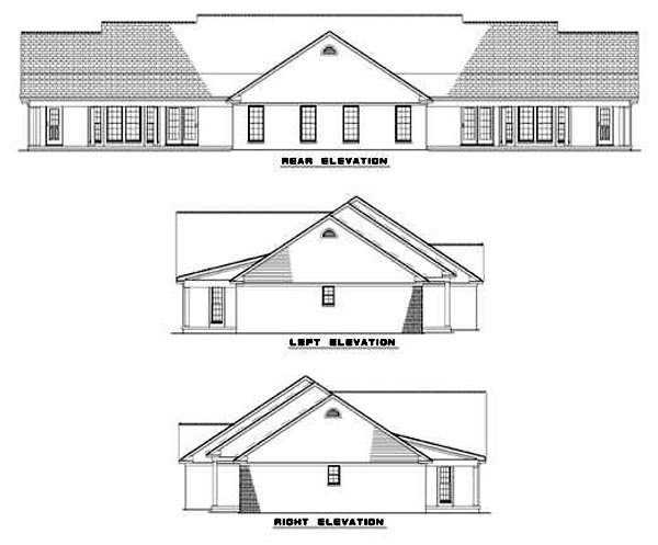 Ranch Multi-Family Plan 62376 Rear Elevation