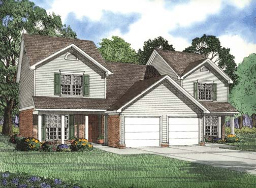 Traditional Multi-Family Plan 62377 Elevation