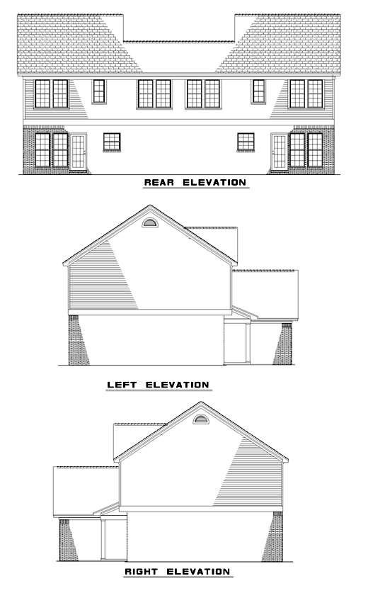 Traditional Multi-Family Plan 62377 Rear Elevation