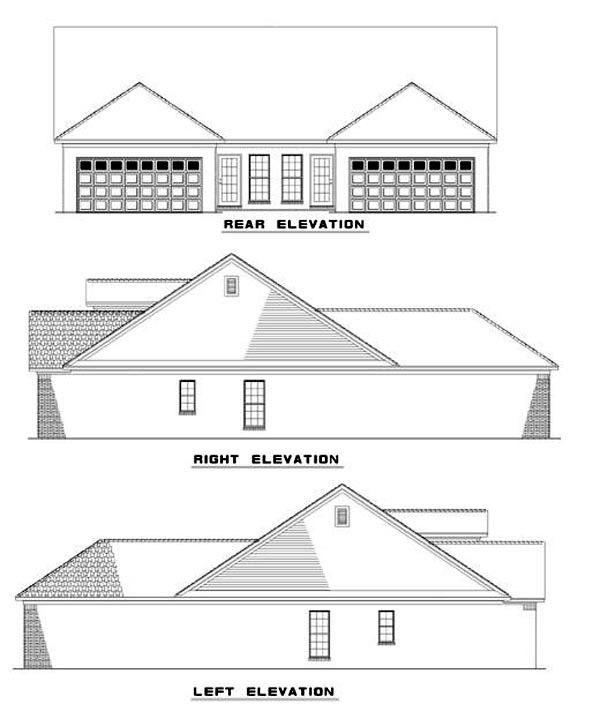 Multi-Family Plan 62379 with 4 Beds, 2 Baths, 2 Car Garage Rear Elevation
