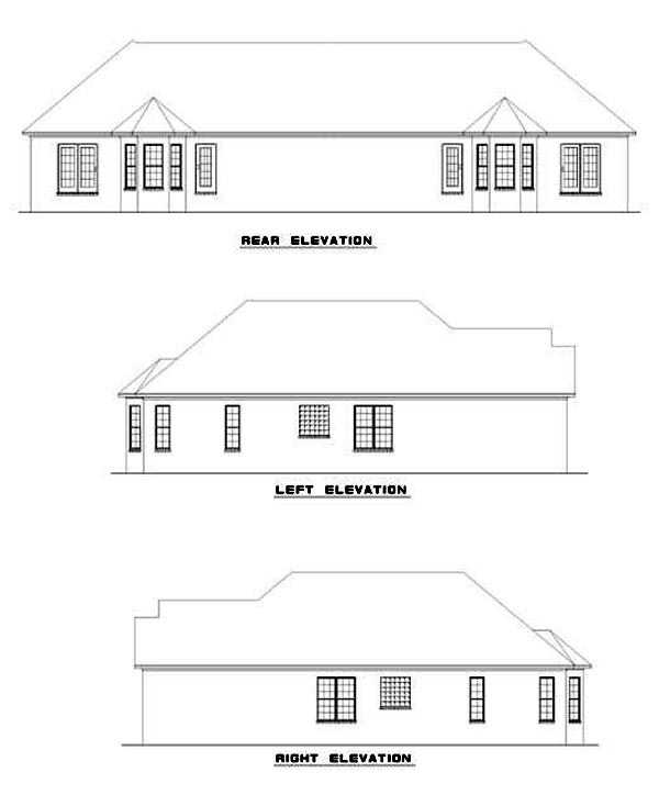 Multi-Family Plan 62381 with 6 Beds, 4 Baths, 2 Car Garage Rear Elevation