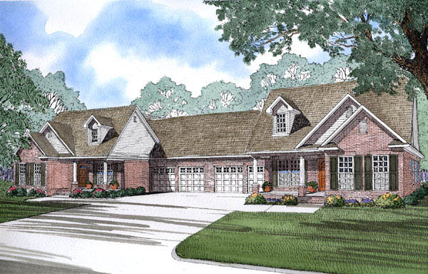 Multi-Family Plan 62382 Elevation