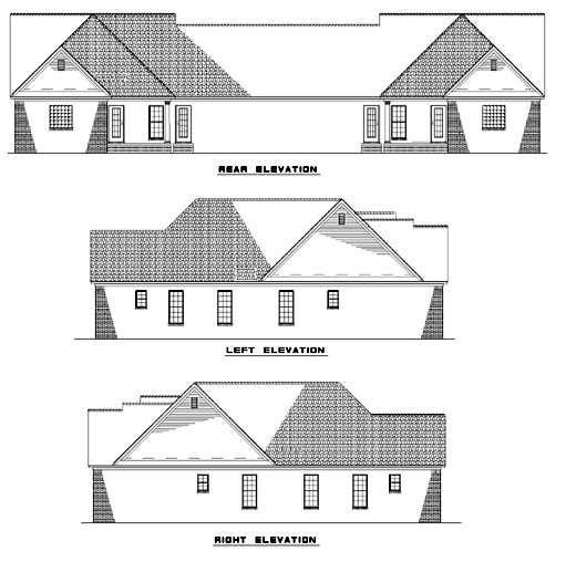 Rear Elevation of Plan 62382