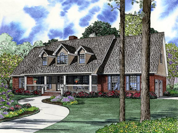 House Plan 62384 with 5 Beds, 3 Baths, 2 Car Garage Elevation